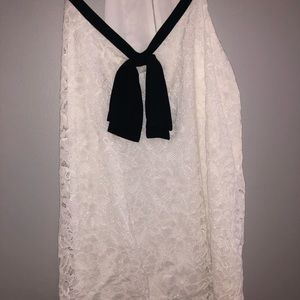 NWT Express Lace White V Neck Cami Black Tie
